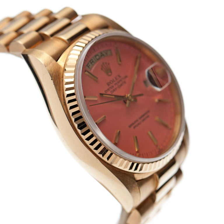 "ROLEX All-Original Pink ""Stella"" Dial Yellow Gold Day-Date image 3"