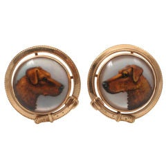 Reverse Painted Essex Crystal & Yellow Gold Dog Motif Cuff Links