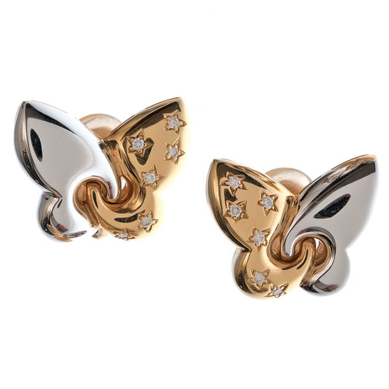 bulgari yellow and white gold clip earrings at