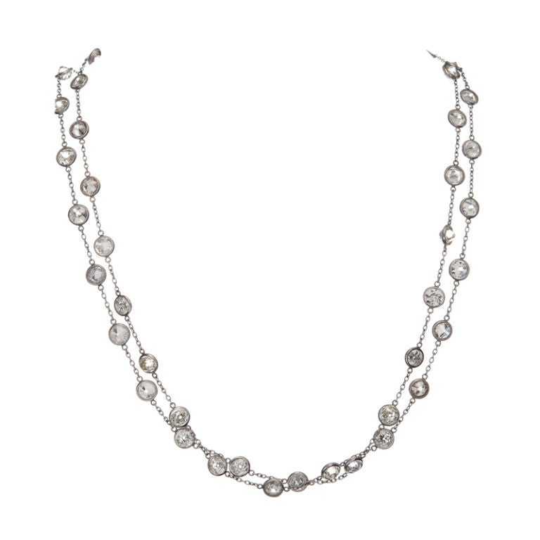 """Old European Cut """"Diamond-by-the-Yard"""" Platinum Necklace ..."""