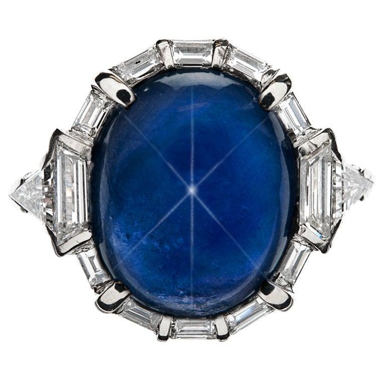 Non Heat Treated Burma Star Sapphire Art Deco Ring At 1stdibs