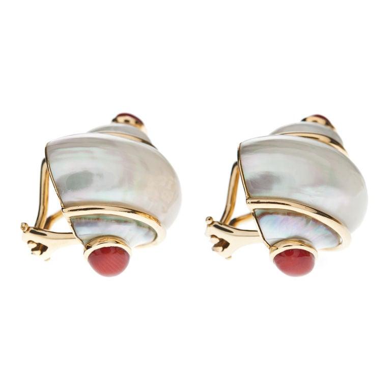 seaman schepps shell earrings at 1stdibs