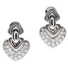 BULGARI Diamond & White Gold Heart-Shaped Earrings