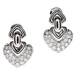 BULGARI Diamond & White Gold Heart-Shaped Earrings