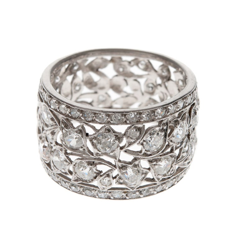 Diamond hand pierced platinum floral laced antique band at for What is platinum jewelry made of