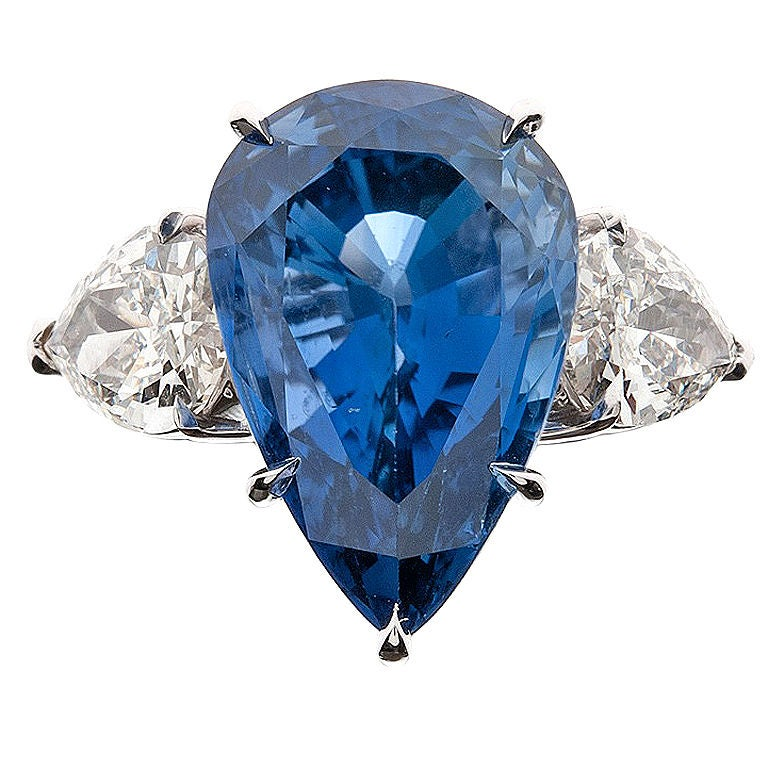 Ceylon Sapphire Diamond Pear-Cut Three Stone Ring