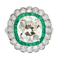Cushion Cut Fancy Light Yellow Antique Diamond & Emerald Ring