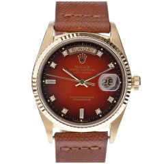ROLEX All-Factory Red Vignette Diamond Dial Yellow Gold Day-Date