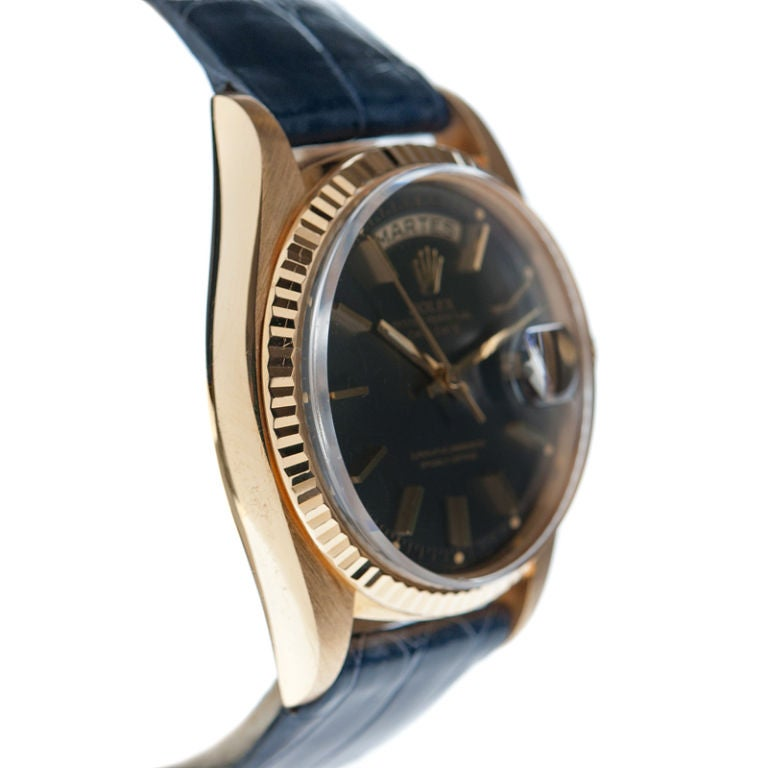 """ROLEX Rare """"Blue-Steel"""" Dial Yellow Gold Day-Date Spanish image 2"""