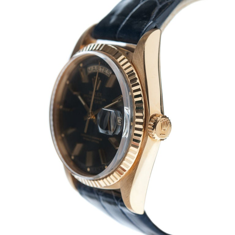 """ROLEX Rare """"Blue-Steel"""" Dial Yellow Gold Day-Date Spanish image 3"""