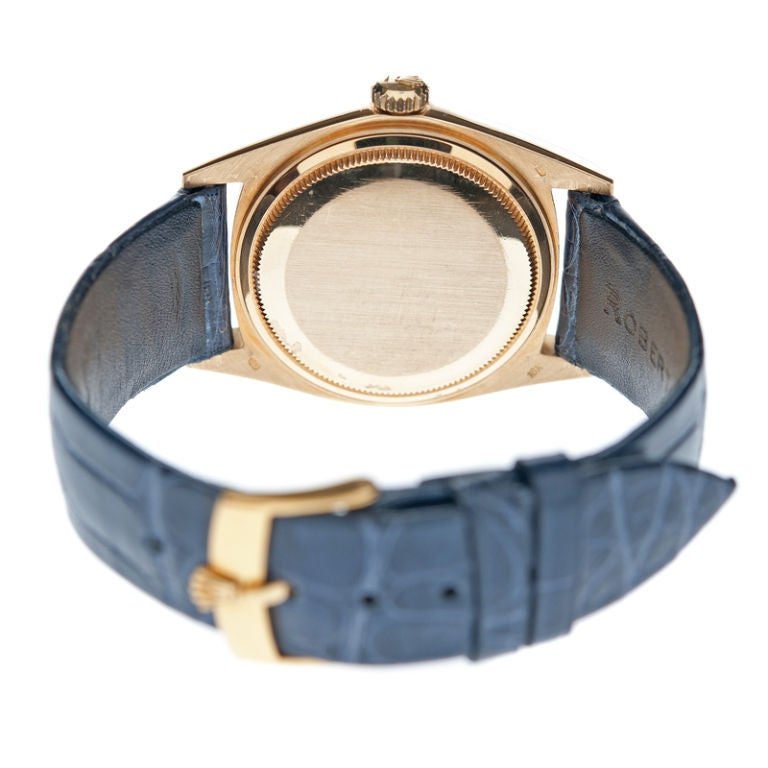 """ROLEX Rare """"Blue-Steel"""" Dial Yellow Gold Day-Date Spanish image 4"""