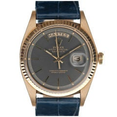 "ROLEX Rare ""Blue-Steel"" Dial Yellow Gold Day-Date Spanish"