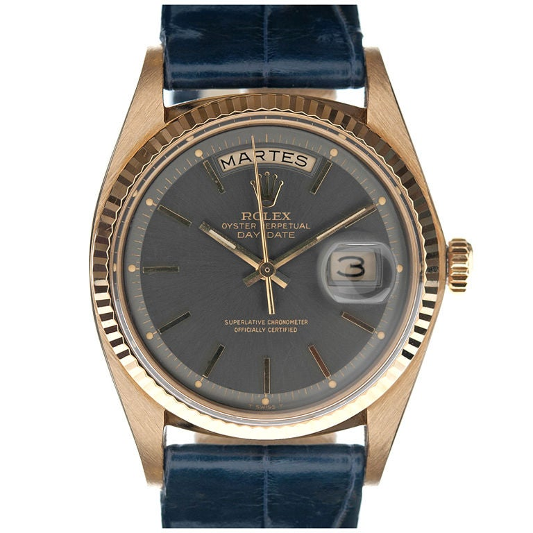 """ROLEX Rare """"Blue-Steel"""" Dial Yellow Gold Day-Date Spanish"""