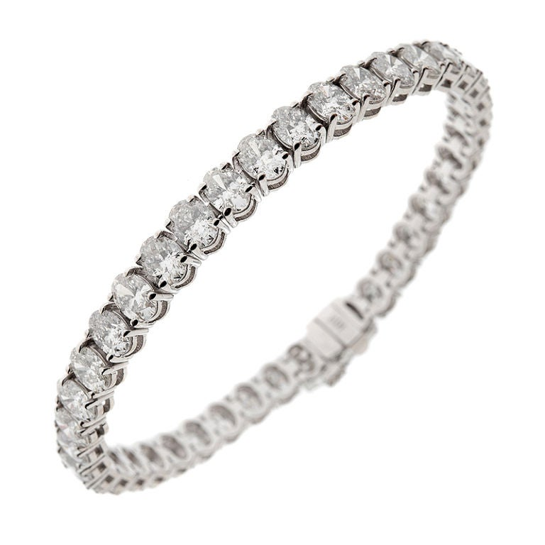 Oval Diamond And White Gold Tennis Bracelet At 1stdibs