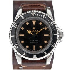 """ROLEX """"Pointy-Crown Guard"""" Gilt Dial Silver Depth-Rating #5512"""