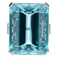 90ct Aquamarine, Diamond & Platinum Ring
