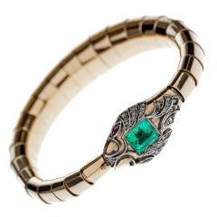 Victorian Emerald Ruby Diamond Silver Gold Snake Bracelet