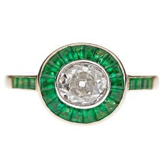 Oval Cut Diamond & Emerald All-Original Handmade Antique Ring