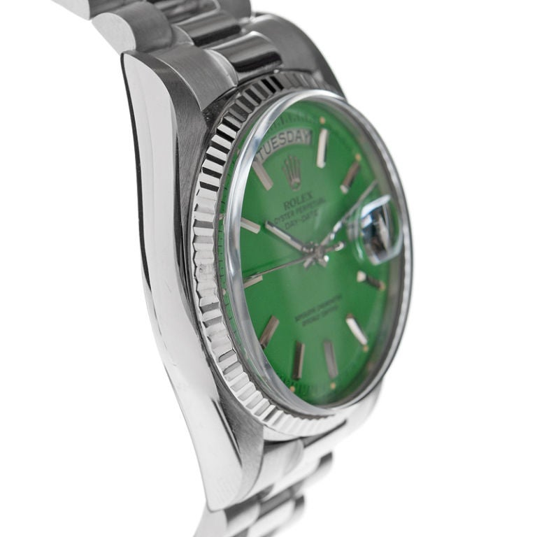"ROLEX Green ""Stella"" Dial Rare White Gold Day-Date 3"
