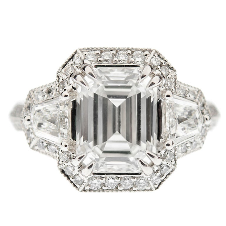 Crisscut Emerald Cut Engagement Ring