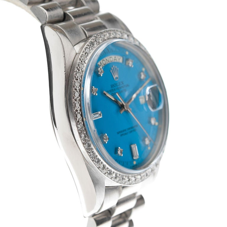 "ROLEX Rare Platinum Blue ""Stella""  Dial & Diamond Bezel Watch 3"