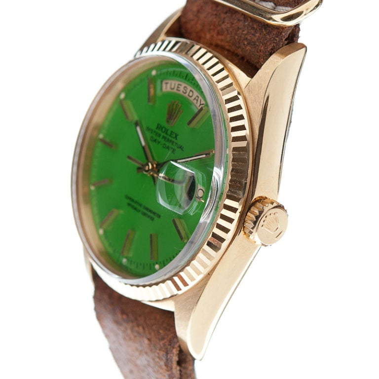 ROLEX Green Lacquer Stella Dial & Yellow Gold Day-Date image 2