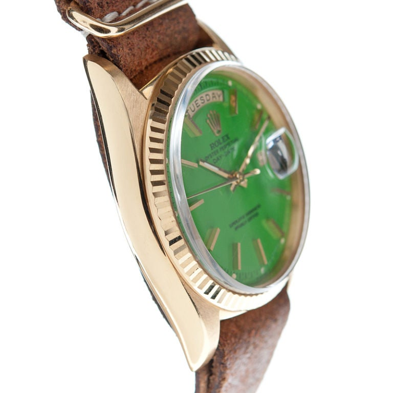 ROLEX Green Lacquer Stella Dial & Yellow Gold Day-Date image 3