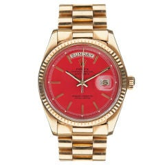 "ROLEX Red ""Stella"" Dial & Yellow Gold Day-Date"