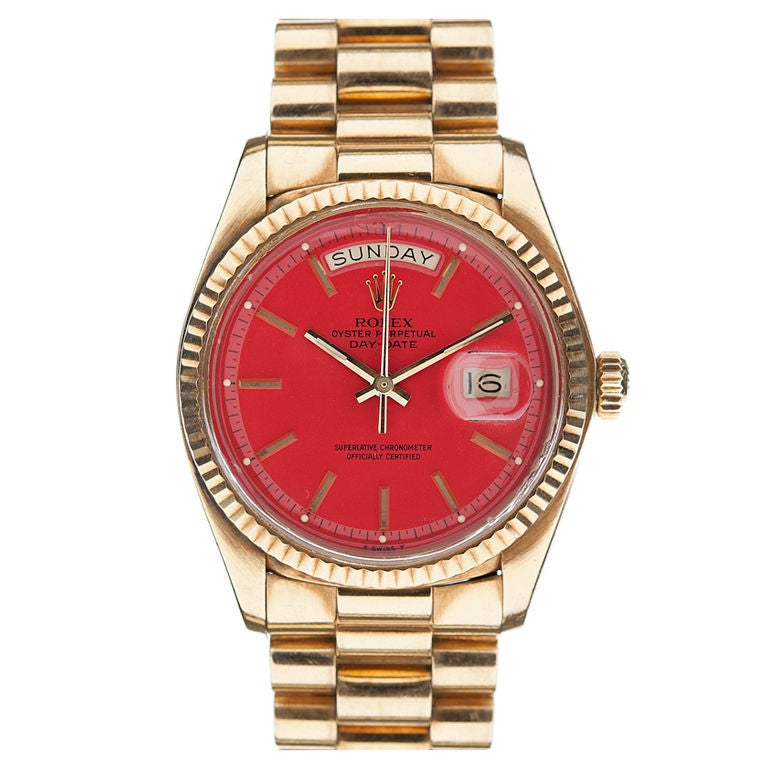 Rolex Red Quot Stella Quot Dial And Yellow Gold Day Date At 1stdibs