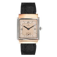 ROLEX 1930's Rose Gold & Steel Rectangular Case Timepiece