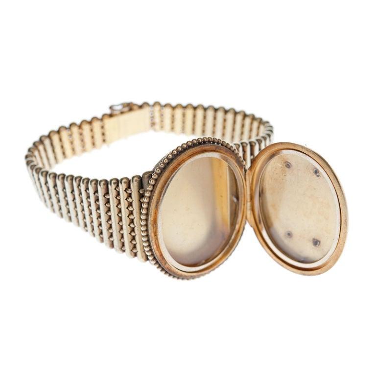 Rose Cut Victorian Diamond Gold Locket Bracelet For Sale