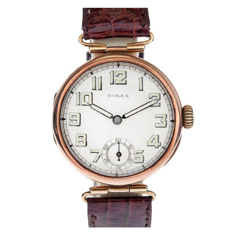 ROLEX 1920s Vintage Rose Gold Unique Lug Wristwatch at 1stdibs