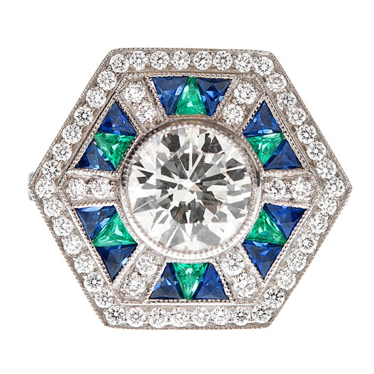 emerald sapphire and platinum ring at 1stdibs