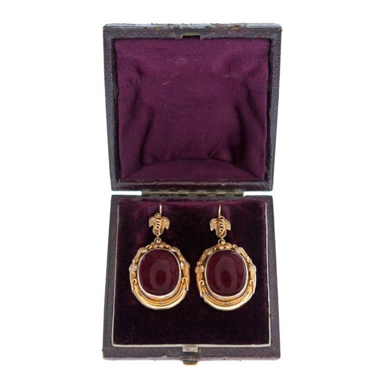 VICTORIAN Garnet Yellow Gold Drop Earrings & Original Box 3
