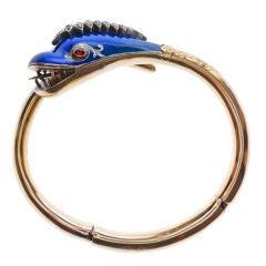 Victorian Diamond and Enamel Serpent Bracelet