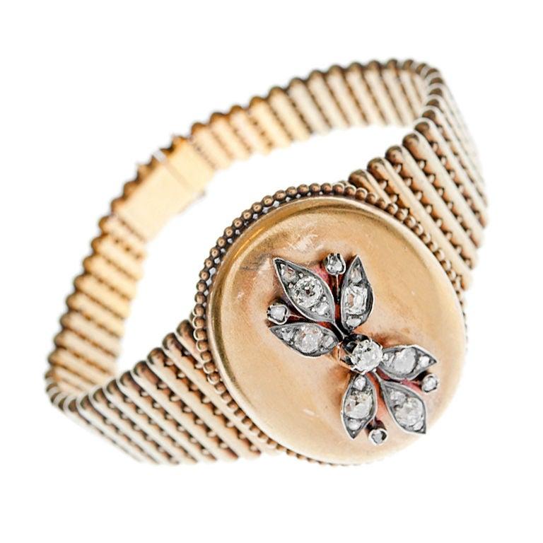 Victorian Diamond Gold Locket Bracelet For Sale