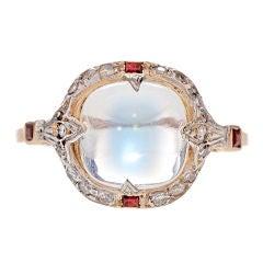 Art Deco Blue Flash Moonstone Diamond Ruby Platinum Gold Ring