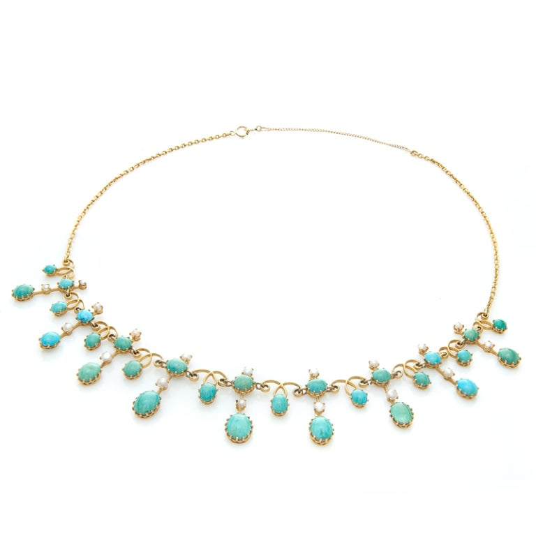 Antique Turquoise and Seed Pearl Necklace image 2
