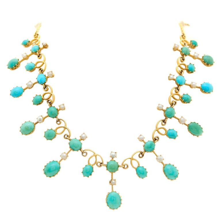 Antique Turquoise and Seed Pearl Necklace