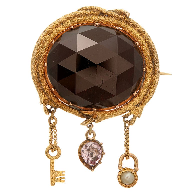 Victorian Faceted Garnet Gold Locket Brooch