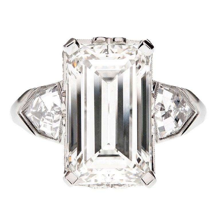 Emerald Cut & Shield Cut Diamond Engagement Ring 1