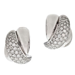 Damiani Diamond Gold X Design Earrings