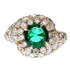 VAN CLEEF & ARPELS Emerald Diamond Yellow Gold Ring