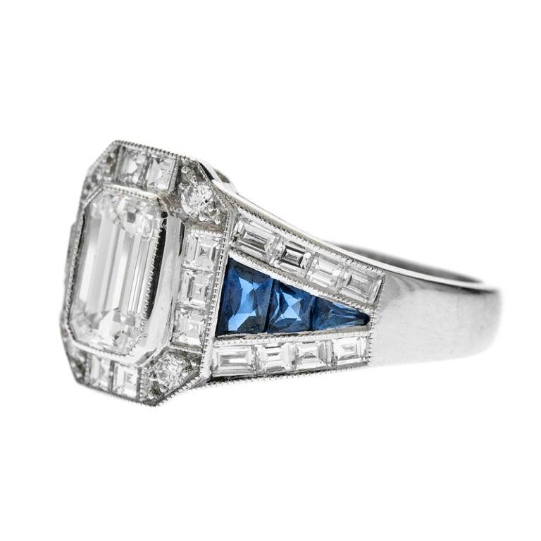 emerald cut sapphire mixed cut engagement ring at