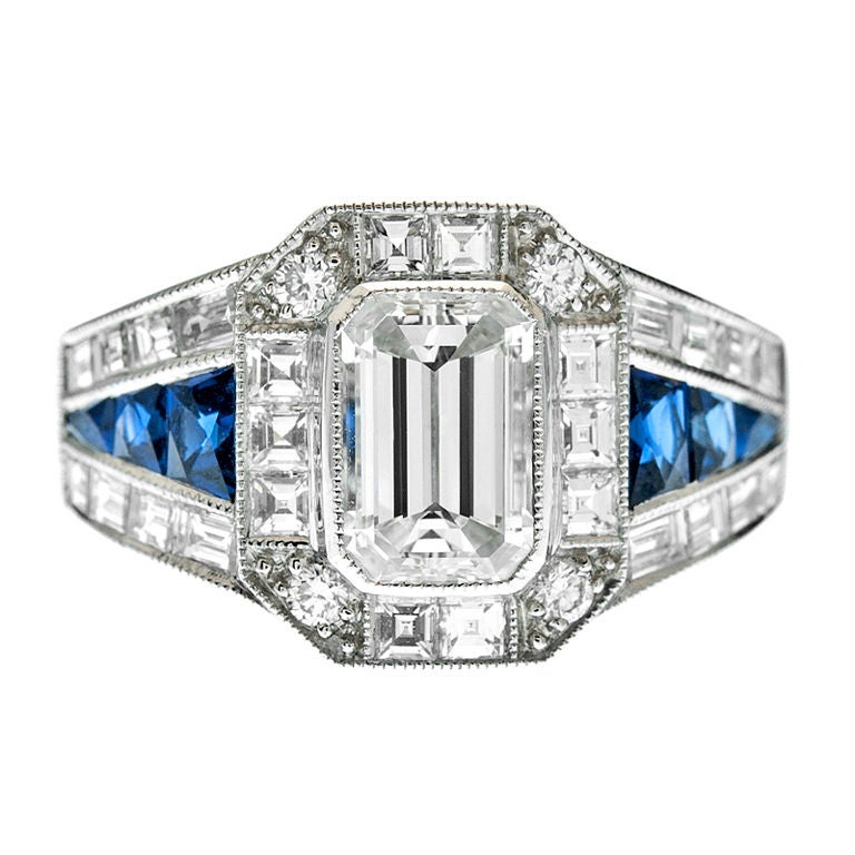 emerald cut sapphire mixed cut engagement ring at