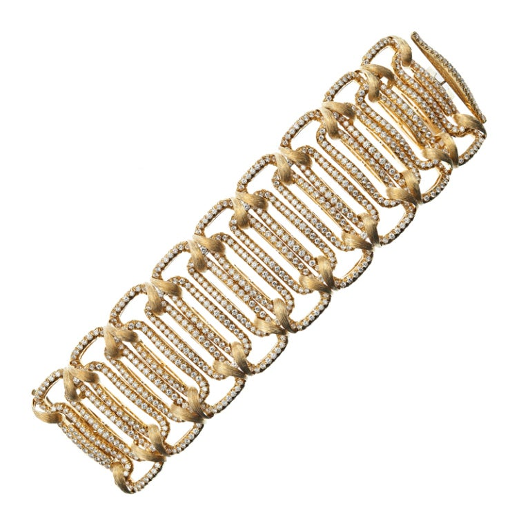 HENRY DUNAY Important Diamond Yellow Gold Bracelet image 2