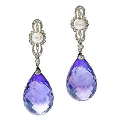 Edwardian Briolette Amethyst Pearl Diamond Platinum Earrings