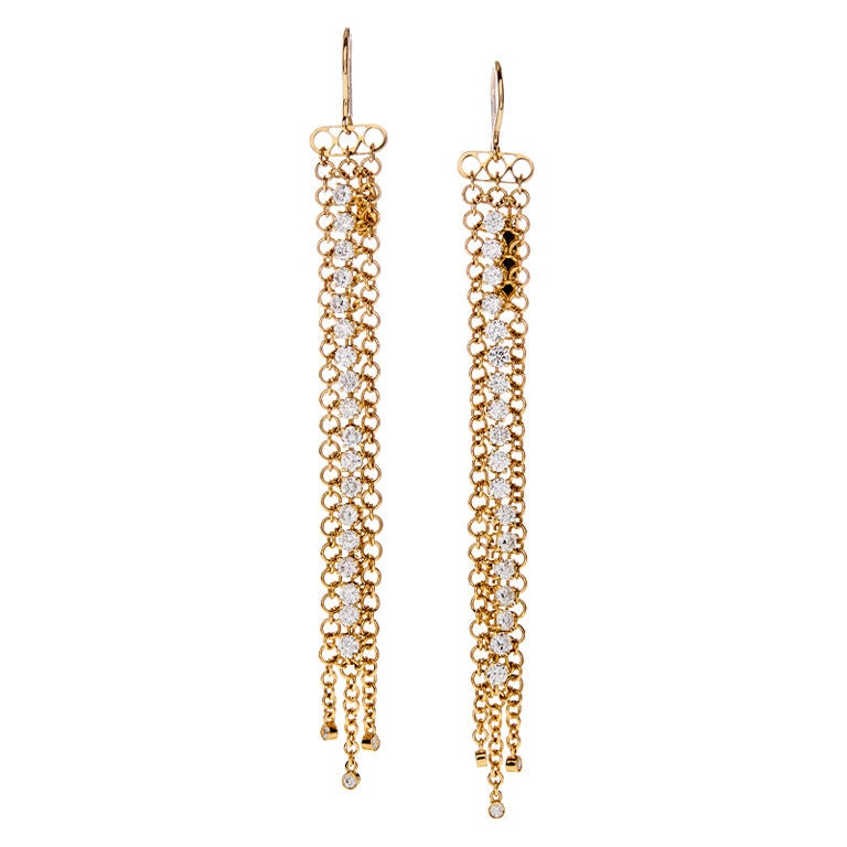 Long Diamond Yellow Gold Italian Dangle Earrings at 1stdibs