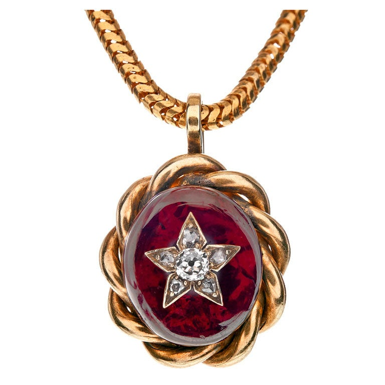 Victorian Diamond Garnet Yellow Gold Hair-Locket Pendant For Sale