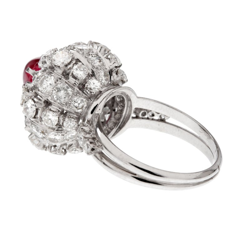 Star Ruby Diamond Stylized Dome Platinum Ring In Excellent Condition For Sale In Carmel-by-the-Sea, CA